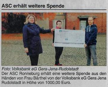 Spende der Volksbank e.G. Gera-Jena-Rudolstadt